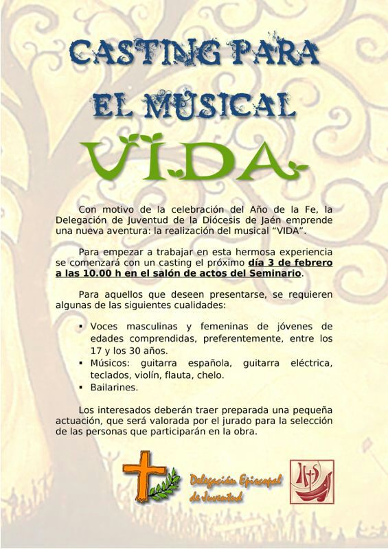 Cartel casting musical VIDA